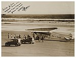 Faith in Australia on the beach at Murawai (Muriwai) ready for take-off with First Official Airmail from N.Z. to Australia, 17 Feb 1934 (2877414218).jpg