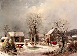 Barnyard - A romantic painting titled Farmyard in Winter by George Henry Durrie, 1858, U.S.A.