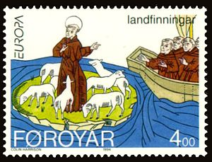 History of the Faroe Islands - Faroese stamp depicting Saint Brendan discovering the Faroe Islands