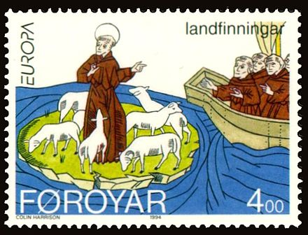 Faroese stamp depicting Saint Brendan discovering the Faroe Islands Faroe stamp 252 Europe and the Discoveries.jpg
