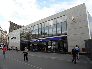 Farringdon station - The new National Rail entrance, built as part of the Thameslink Programme. It is built opposite the 1922 station frontage, which still stands.