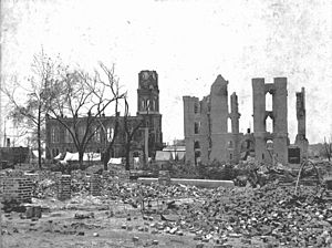 Jacksonville, Florida - Ruins of the courthouse and armory from the Great Fire of 1901.