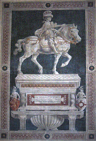 Funerary Monument to Sir John Hawkwood - The fresco of fellow ''condottiero'' Niccolò da Tolentino is adjacent to the Hawkwood in the Florence Cathedral.