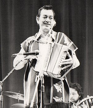 Flaco Jiménez - Flaco on stage at Farnham, U.K., 1985 (on tour with Peter Rowan)