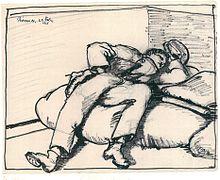 220px Flaig Kriegstagebuch Blatt 11 Schlafender Kamerad 1916