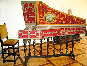 Ruckers - A Flemish harpsichord after the Ruckers school, decorated with faux iron strapwork and jewels.
