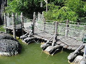 Adventure Isle (Disneyland Paris) - The Floating Bridge, linking the islands.