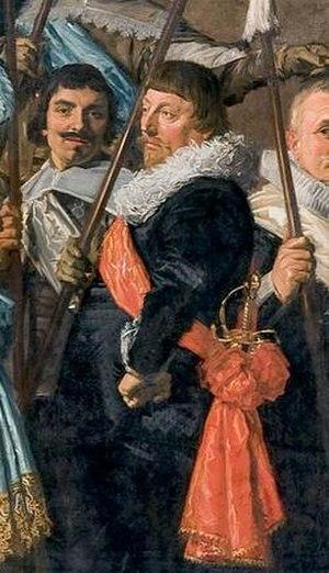 Florens van der Houff - Portrait of Florens Pieter van der Houff, standing in front of Cornelis Coning and looking towards his father-in-law, detail of schutterstuk from 1639
