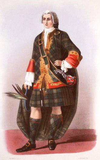 Scottish clan chief - A romantic depiction of the Clan Forbes clan chief illustrated by R. R. McIan, from James Logan's The Clans of the Scottish Highlands, 1845.