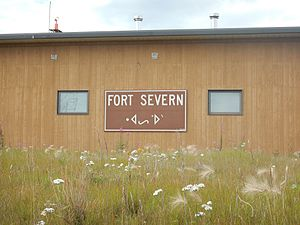 Fort Severn First Nation - Sign at Fort Severn Airport in English and Cree. Summer 2015