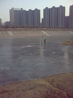 Chaobai River - Frozen Chaobai river at Yanjiao town, Hebei