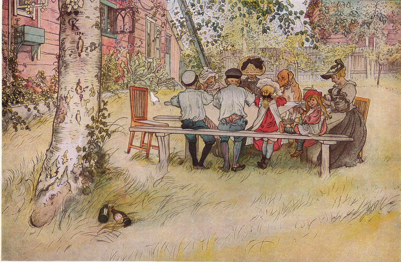 Déjeuner sous un grand bouleau («À la maison»), tableau peint en 1896 par Carl Larsson (1853-1919). (définition réelle 675×459*)