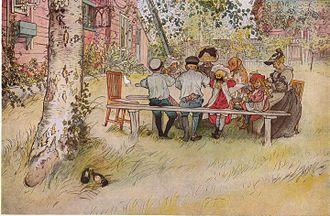 Swedish art -  Carl Larsson's Breakfast Under the Big Birch Tree, 1896
