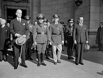 Sumner Welles - Welles, holding hat at left, greeting Cuba's Fulgencio Batista at Union Station, Washington, D.C. November 10, 1938
