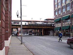 Fullerton station (CTA) - The sign for Demon Dogs is visible on the left, under the EL track. Photo from 2003