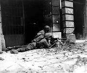 GI machine gun crew in Aachen (Correct orientation)