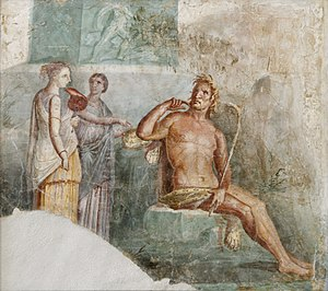 "History of Italy - Polyphemus hears of the arrival of Galatea; ancient Roman fresco painted in the ""Fourth Style"" of Pompeii (45–79 CE)"