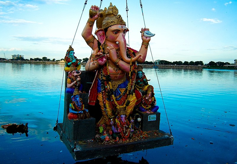 The visarjan (nimarjan) ceremony of Lord Ganesha during the Chaturthi festival. - Wikipedia