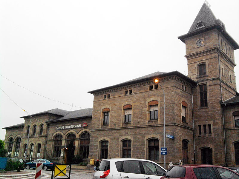 Train station of Sarreguemines, town in Moselle (France).