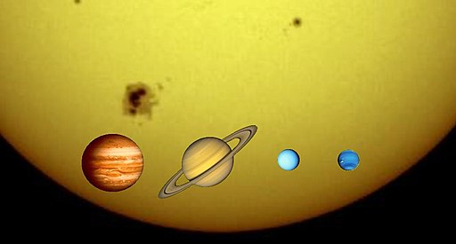 Gas giants and the Sun (1 px = 1000 km)