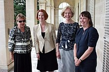 Gaudron, Gillard, Bryce, Roxon after swearing-in ceremony.jpg