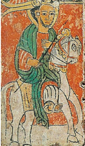 Detail from Ethiopian icon, IESMus3450, showing Negus Lalibela.