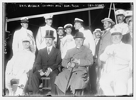 Togo with William Verbeck, Assistant secretary of state Chandler Hale, ; , Major General Frederick D. Grant on board the Lusitania Gen. Virbeck (i.e., Verbeck; Chandler Hale; Adm. Togo; (and) Gen. Grant LCCN2014689811.jpg