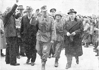 Hubert Lanz - General Lanz entering city magistrate to take over power in occupied Celje, Yugoslavia, April 1941