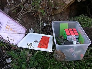An example of container for geocaching game, C...