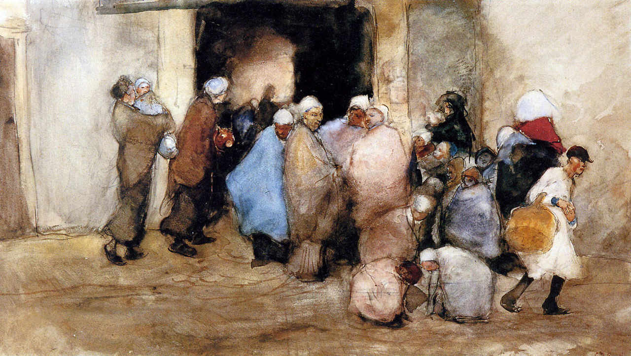 A watercolor of a group of people standing in front of a courtyard. Some are carrying pots.