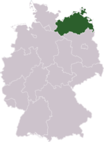 Location of Mecklenburg-Vorpommern in Germany