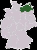Location of Mecklenburg-Vorpommern in Germany