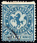 Germany Stuttgart 1888 local stamp 3pf - 7 used.jpg