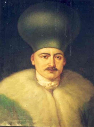 Boyar - Wallachian Vornic Șerban Grădișteanu wearing a kalpak, an indication of his boyar rank