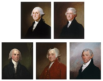 National Portrait Gallery (United States) - The Gibbs-Coolidge Set, five oil paintings on wood of the first five Presidents, by Gilbert Stuart. The set was acquired by NPG in 1979.