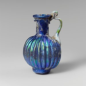 Jug - Roman glass juglet with vertical ribbing. 2nd half of 1st century C.E.