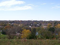 Looking west at Glenwood from Old Slaughterhouse Hill at the Glenwood Lake Park