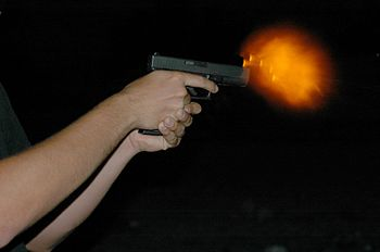 Glock 17 Night firing to catch muzzle flash.
