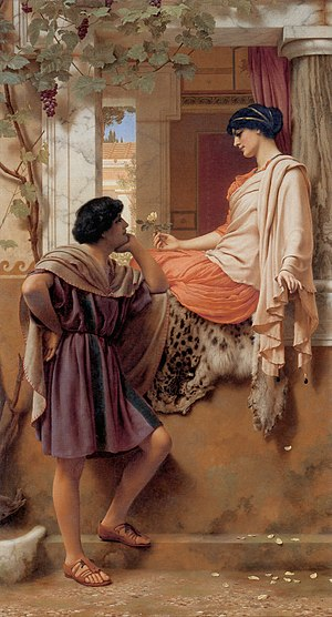 Eros (concept) - The Old, Old Story, John William Godward, 1903