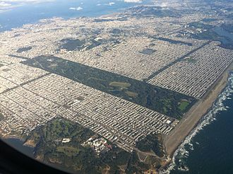 Outside Lands - The Outside Lands from the northwest, with Lands End and the Richmond District in the foreground, then Golden Gate Park and the Sunset District at center-right.