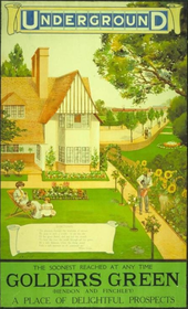 "A poster shows the well-kept garden of an early 20th century suburban house. A mother and daughter sit on the lawn, while the father waters a row of sunflowers. Beyond the house, a wide tree-lined street recedes towards the horizon, where a red train leaves a station. The Underground logo appears at the top of the poster and at the bottom the slogan ""The Soonest Reached at any Time: Golders Green (Hendon and Finchley) A Place of Delightful Prospects""."