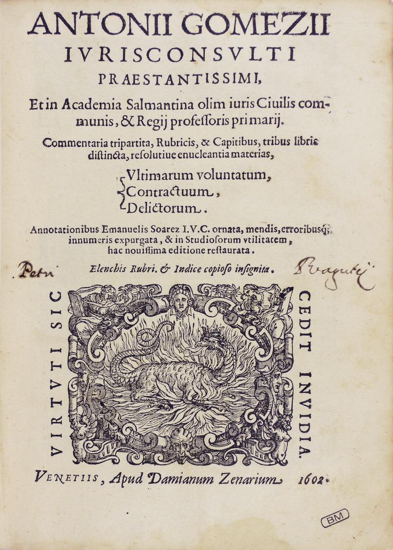 Portada de la Commentaria tripartita, de Antonio Gómez (1602)