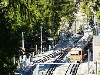 Findelbach railway station - Image: Gonergratbahn Station Findelbach