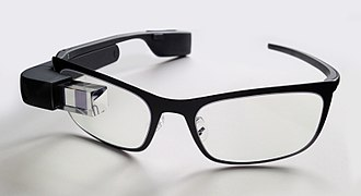 X (company) - Google Glass with black frames for prescription lenses.