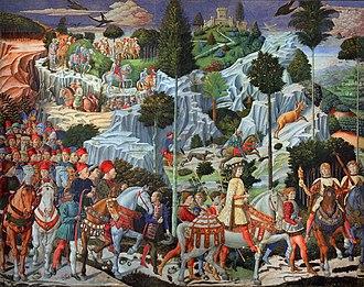 Benozzo Gozzoli - Journey of the Magi (East Wall), Magi Chapel of Palazzo Medici-Riccardi, Florence, 1459–1461.
