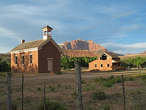 Grafton, Utah - The schoolhouse at Grafton. Built in 1886, it was also used as a church and public meeting place.