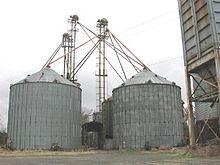 corrugated steel grain bins and cable-guyed grain elevator at a grain  elevator in hemingway, south carolina