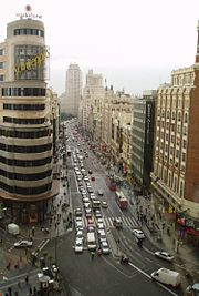 Gran Vía, one of the main streets in Madrid, the largest city and capital of Spain