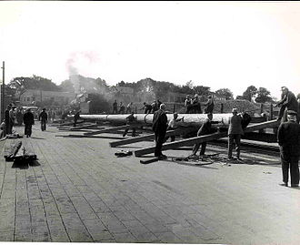 Grand Parade (Halifax) - Grand Parade flagpole being transported through Digby in 1947