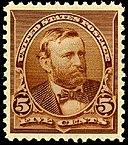 Image du premier timbre-poste américain Grant, émis en 1890, brun, cinq cents.